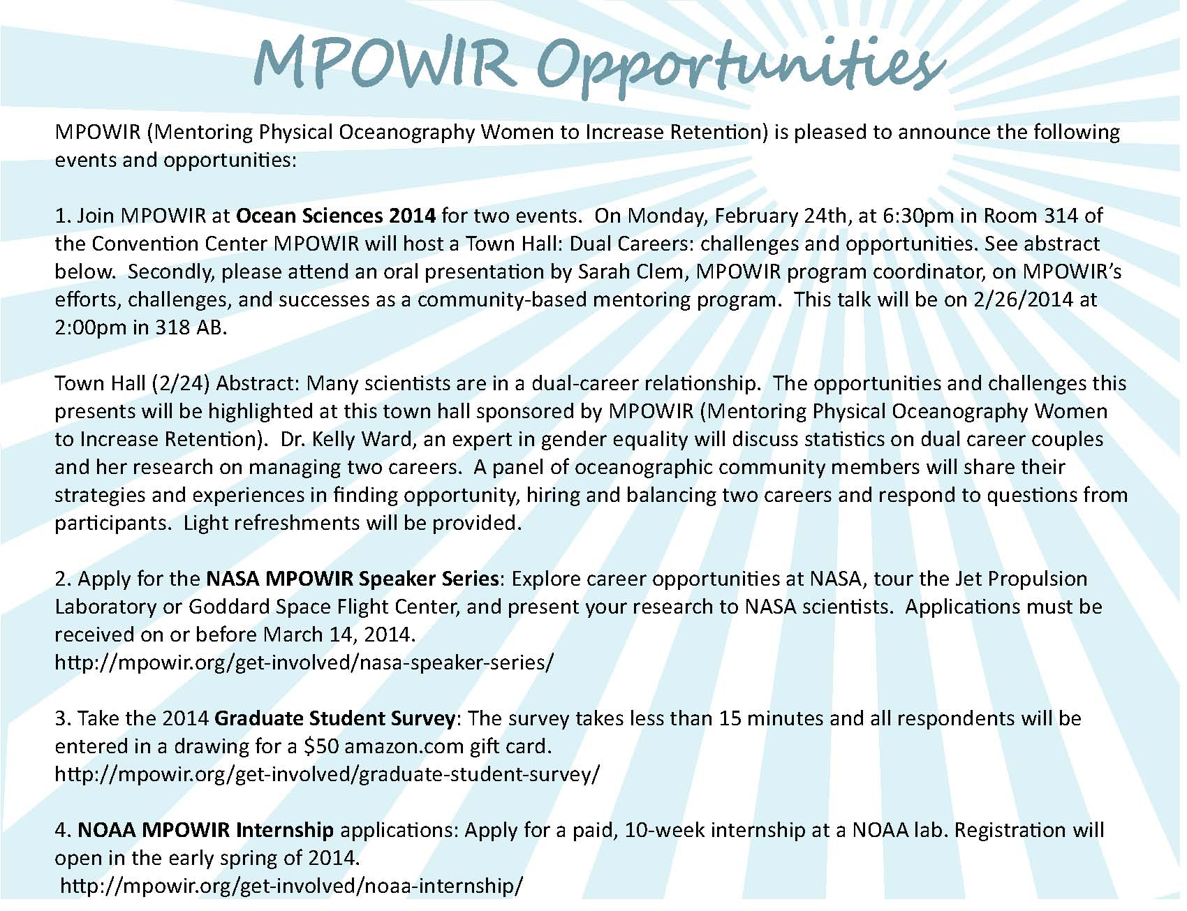 MPOWIR opportunities